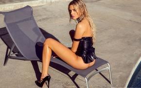 legs, Monica Sims, black dress, long hair, black heels, blonde
