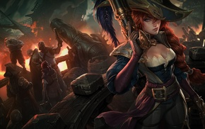 girl, redhead, pirates, BIlgewater, League of Legends, naval battles