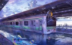 dog, water, anime girls, train, metro, bubbles