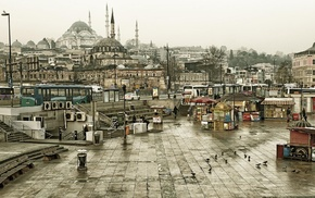 Turkey, Istanbul, bench, mosques, stairs, architecture