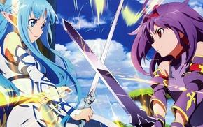 anime, Sword Art Online, anime girls, artwork, Yuuki Asuna, Konno Yuuki