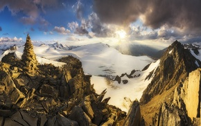 sun rays, nature, landscape, mountain, sunset, snow