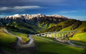 highway, trees, valley, nature, China, snowy peak