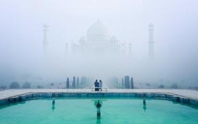 water, landscape, calm, architecture, mist, reflection