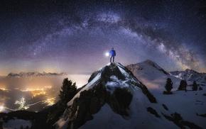 valley, Milky Way, lights, mountain, city, mist