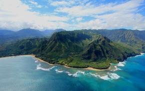 landscape, beach, aerial view, Kauai, clouds, island