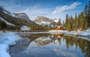 snow, lake, landscape, reflection, cabin, forest