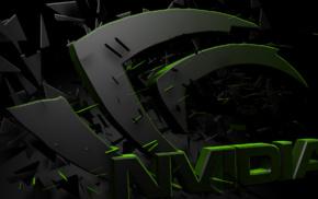 3D, Nvidia, logo, GPUs, render
