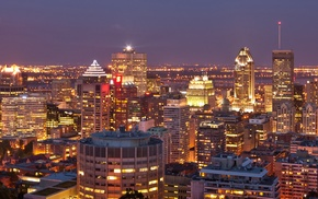 multiple display, Canada, building, lights, city, Montreal