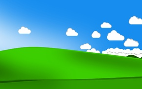 valley, bliss, clouds, minimalism, Windows XP