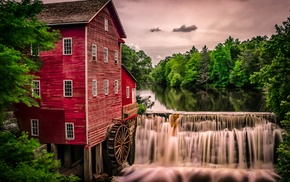 trees, waterfall, lake, mill, clouds, house