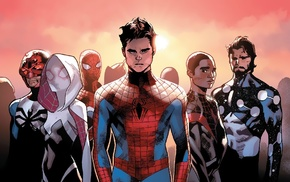 Spider, Gwen, Spider, Man, Miles Morales, comic books