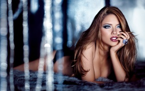 girl, lying on front, model, rings, depth of field, biting finger