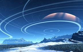 mountain, stars, planet, CGI, landscape, digital art