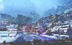 digital art, winter, lights, snow, cyberpunk, people
