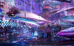 cyberpunk, artwork, futuristic, digital art, city