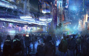 futuristic, city, cyberpunk, digital art, artwork