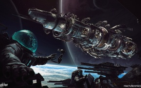 planet, digital art, space station, astronaut, fractured space, space