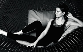 actress, monochrome, Emma Watson