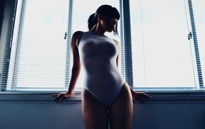 one, piece swimsuit, Asian, girl, looking away, window