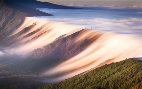 landscape, mountain, valley, waves, clouds, mist