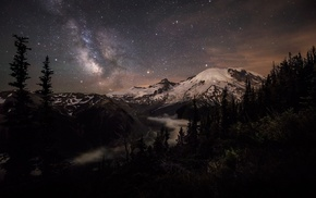 Milky Way, nature, long exposure, mist, moonlight, Mount Rainier