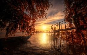 dock, fall, boat, water, landscape, sunset