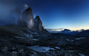 blue, landscape, mist, moon, clouds, Dolomites mountains