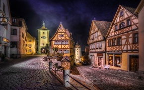Germany, landscape, medieval, lights, HDR, house
