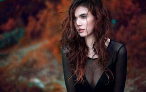wavy hair, looking away, mesh clothing, long hair, girl, cleavage