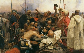Reply of the Zaporozhian Cossacks to Sultan Mehmed, classic art, llya Repin, cossacs