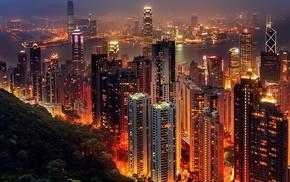 Hong Kong, night, lights, city, skyscraper, cityscape