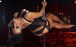 high heels, black lingerie, pole dancing, stripping