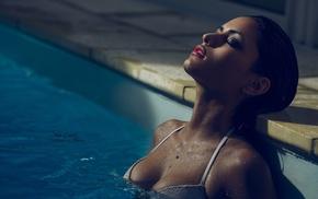 bikini tops, swimming pool, wet hair, closed eyes, wet body, girl