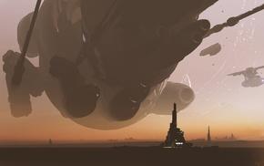 fantasy art, digital art, artwork, planet, spaceship
