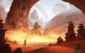 desert, planet, artwork, digital art, fantasy art