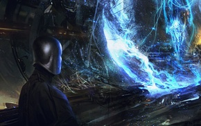 explosion, spaceship, fantasy art, digital art, artwork