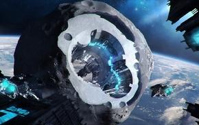 space, artwork, satellite, fantasy art, digital art, spaceship
