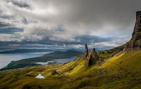 Scotland, grass, island, sea, Skye, lake