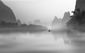 morning, landscape, river, mountain, mist, fisherman