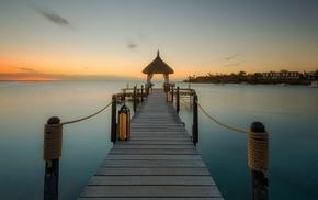 landscape, tropical, sunrise, sea, nature, Mauritius