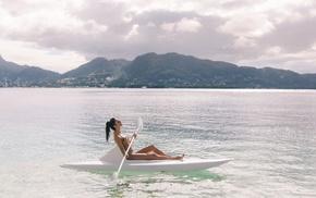 kayaks, Aurela Skandaj, model, bikini, rowing, sea