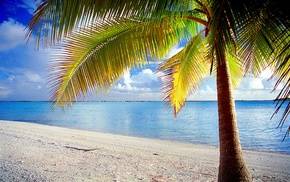 landscape, nature, sand, Rangiroa, French Polynesia, clouds