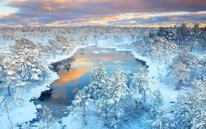 clouds, snow, nature, ice, trees, water