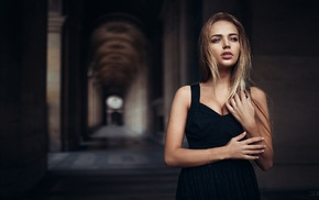 building, black dress, girl, Ivan Gorokhov, blonde, dress