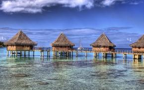 summer, nature, tropical, resort, bungalow, landscape