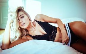 underwear, girl, armpits, in bed, blonde