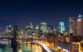 long exposure, Brooklyn Bridge, city, night, lights, New York City