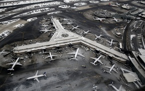 newark airport, airport, winter, aircraft, airplane, aerial view