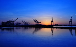 cranes machine, ports, sunrise
